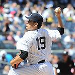 Masahiro Tanaka (Yankees),<br /> JUNE 5, 2014 - MLB :<br /> Masahiro Tanaka of the New York Yankees pitches during the Major League Baseball game against the Oakland Athletics at Yankee Stadium in Bronx, New York, United States. (Photo by AFLO)