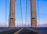 Suspension towers of the Mackinaw Bridge between Michigan's upper and lower peninsulas in early morning light, Michigan, USA