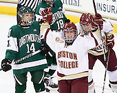 Emily Field (BC - 15) and Danielle Welch (BC - 17) celebrate the game-winner. - The Boston College Eagles defeated the Dartmouth College Big Green 4-3 on Sunday, October 23, 2011, at Kelley Rink in Conte Forum in Chestnut Hill, Massachusetts.
