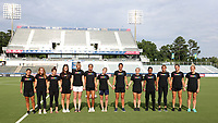 Cary, North Carolina  - Saturday June 17, 2017: NC Courage players (from left) Debinha, Meredith Speck, Samantha Witteman, Sabrina D'Angelo, Samantha Mewis, Darian Jenkins, McCall Zerboni, Abby Erceg, Kristen Hamilton, Taylor Smith, Lynn Williams, Stephanie Ochs, and Abby Dahlkemper wear Nike Equality BeTrue Tees before a regular season National Women's Soccer League (NWSL) match between the North Carolina Courage and the Boston Breakers at Sahlen's Stadium at WakeMed Soccer Park. The Courage won the game 3-1.