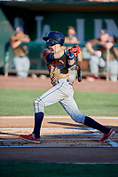 Antonio Pinero (3) of the Rocky Mountain Vibes at bat against the Ogden Raptors at Lindquist Field on July 6, 2019 in Ogden, Utah. The Vibes defeated the Raptors 7-2. (Stephen Smith/Four Seam Images)