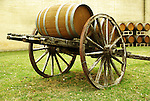 Vintage wine barrel cart at Grape Creek Winery on the Texas Hill Country Wine Trail
