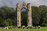 Walsingham Pilgrimage.  Roman Catholics hold mass in the grounds of the ruined Abbey and old Priory. Little Walsingham. North Norfolk, England