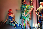 CAPE TOWN, SOUTH AFRICA - JULY 26: Models pose during an installation show at the new Klûk CGDT flagship store during Mercedes-Benz Fashion Week on July 26, 2014, in Cape Town, South Africa. Klûk CGDT, created by the designers Malcolm KLûK and Christiaan Gabriel Du Toit. The elite of Cape Town came out for the launch of the store and the late night party. (Photo by Per-Anders Pettersson)