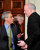 Washington, D.C. - March 23, 2010 -- White House Chief of Staff Rahm Emanuel, left, and United States Representative Joseph Crowley (Democrat of New York) exchange some thoughts after U.S. President Barack Obama signed the version of the health care bill that was passed by the U.S. House of Representatives in the East Room of the White House in Washington, D.C. on Tuesday, March 23, 2010..Credit: Ron Sachs / CNP.(RESTRICTION: NO New York or New Jersey Newspapers or newspapers within a 75 mile radius of New York City)