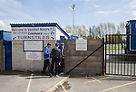 Vauxhall Motors FC 0 Solihull Moors 2, 26/04/2014. Rivacre Park, Conference North. Fans paying in at the turnstiles before Vauxhall Motors play Solihull Moors at Rivacre Park in the final Conference North fixture of the season. It was to be the last match for the Ellesmere Port-based home club, named after the giant car factory in the town, who have resigned from the professional pyramid system to return to local amateur football due to spiralling costs and low attendances. Their final match resulted in a 2-0 home defeat, watched by a crowd of only 215. Photo by Colin McPherson.