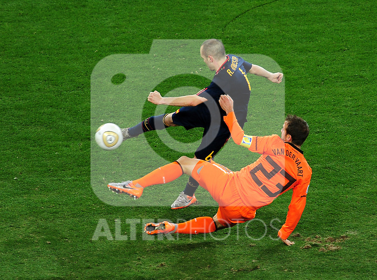 Andres Iniesta scores the winning goal during extra time in  the 2010 FIFA World Cup South Africa  Final match between Holland and Spain at Soccer City  on 11 July, 2010 in Johannesburg, South Africa.