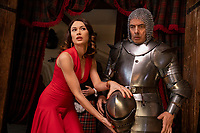 Olga Kurylenko as Ophelia and Rowan Atkinson as Johnny English star in Johnny English Strikes Again (2018)<br /> *Filmstill - Editorial Use Only*<br /> CAP/RFS<br /> Image supplied by Capital Pictures
