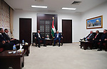 Palestinian Prisident, Mahmoud Abbas meets with Egyptian Intelligence Director, Khalid Fawzi, in the West Bank city of Ramallah on October 3, 2017. Photo by Thaer Ganaim