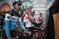 brothers Oliver Naesen (BEL/AG2R La Mondiale) and Lawrence Naesen (BEL/Lotto Soudal) awaiting the pre race team presentation of the 103rd Ronde van Vlaanderen 2019<br /> One day race from Antwerp to Oudenaarde (BEL/270km)<br /> <br /> ©kramon