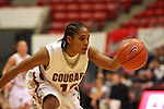 Danielle LeNoir, Washington State freshman, dribbles down court during the Cougars game against Montana State in Pullman, Washington, on November 23, 2008.  The Cougars prevailed in the contest, 78-66.