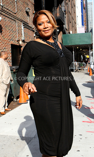 WWW.ACEPIXS.COM . . . . .  ....July 10 2012, New York City....Actress and singer Queen Latifah made an appearance at the Late Show with David Letterman on July 10 2012 in New York City....Please byline: NANCY RIVERA- ACEPIXS.COM.... *** ***..Ace Pictures, Inc:  ..Tel: 646 769 0430..e-mail: info@acepixs.com..web: http://www.acepixs.com