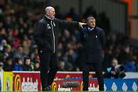 Bradford City manager Simon Grayson with Blackburn Rovers manager Tony Mowbray behind him during the Sky Bet League 1 match between Blackburn Rovers and Bradford City at Ewood Park, Blackburn, England on 29 March 2018. Photo by Thomas Gadd.