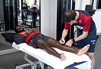 Swansea City's Nathan Dyer in the gym on his first day back for the new season.