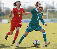 20180314 - TUBIZE , BELGIUM : Belgian Perrine Balant (L) and German Carlotte Wamser (R) pictured during the friendly female soccer match between Women under 15 teams of  Belgium and Gemany , in Tubize , Belgium . Wednesday 14 th March 2018 . PHOTO SPORTPIX.BE / DIRK VUYLSTEKE