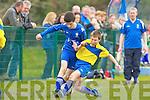 Mike Pierce Killarney Athletic and David Kenny Ballyhar clash during their cup tie in Killarney on Saturday