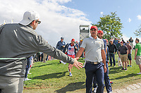 Brooks Koepka (USA) and Dustin Johnson (USA) make their way to 4 during round 3 Four-Ball of the 2017 President's Cup, Liberty National Golf Club, Jersey City, New Jersey, USA. 9/30/2017.<br /> Picture: Golffile | Ken Murray<br /> <br /> All photo usage must carry mandatory copyright credit (&copy; Golffile | Ken Murray)