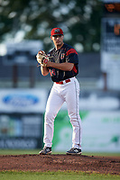 Batavia Muckdogs starting pitcher Sam Perez (44) gets ready to deliver a warmup pitch during a game against the West Virginia Black Bears on August 5, 2017 at Dwyer Stadium in Batavia, New York.  Batavia defeated West Virginia 3-2.  (Mike Janes/Four Seam Images)