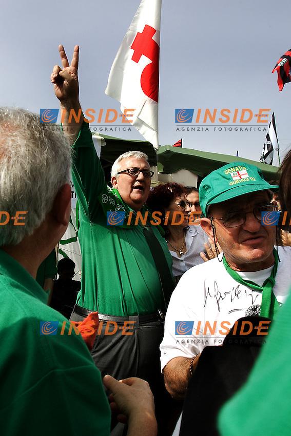 Mario Borghezio..Manifestazione della Lega Nord...Pontida, 01 Giugno 2008...Foto Antonietta Baldassarre Inside