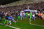 Wigan Athletic 1 Rubin Kazan 1, 24/10/2013. DW Stadium, Europa League Group D. Wigan Athletic embark on their first European campaign having won the FA Cup the previous season. The DW Stadium is temporarily known as The Wigan Athletic Stadium for Europa League fixtures. The two teams come onto the pitch. Jean Beausejour touches the turf.  Photo by Paul Thompson.