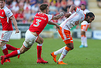 Rotherham United's Joe Mattock shoves Blackpool's Nathan Delfouneso<br /> <br /> Photographer Alex Dodd/CameraSport<br /> <br /> The EFL Sky Bet League One - Rotherham United v Blackpool - Saturday 5th May 2018 - New York Stadium - Rotherham<br /> <br /> World Copyright &copy; 2018 CameraSport. All rights reserved. 43 Linden Ave. Countesthorpe. Leicester. England. LE8 5PG - Tel: +44 (0) 116 277 4147 - admin@camerasport.com - www.camerasport.com