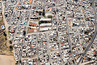 Poor neighbourhood in Mexico City. Aerial shots of Mexico City