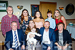 Debra Sanderson and James Gayson from Tralee Christened their baby Íarla in St Brendans church, Tralee last Saturday by Fr Padraig Walsh and celebrated afterwards in the Kerins O'Rahilly's GAA clubhouse, Tralee, also seated are Jim and Ellen gayson who celebrated 50yrs married.