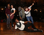 Antuan Magic Raimone, Lauren Boyd, Justin Dine Bryant, Donald Webber and Neil Haskell during the eduHAM Q & A with the cast of Broadway's 'Hamilton' at The Richard Rodgers Theatre on April 25, 2018 in New York City.