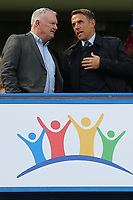 England Women's Team Manager, Phil Neville chats with Greg Clarke, Chairman of the Football Association ahead of kick-off during Chelsea Women vs Tottenham Hotspur Women, Barclays FA Women's Super League Football at Stamford Bridge on 8th September 2019