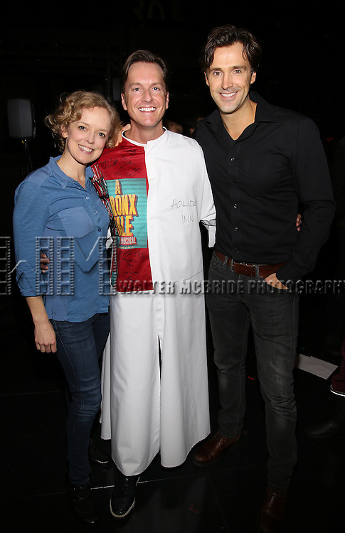 Nancy Anderson, Matt Wall and Michael Xavier attend the Actors' Equity Opening Night Gypsy Robe Ceremony for 'Sunset Boulevard'  honoring Matt Wall at the Palace Theatre Theatre on February 9, 2017 in New York City.