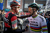 Greg Van Avermaet (BEL/BMC) and Peter Sagan (SVK/Bora-Hansgrohe) wishing good luck to each other pre-race<br /> <br /> 79th Gent - Wevelgem 2017 (1.UWT)