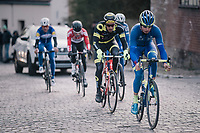 Alex Kirsch (LUX/WB Aqua Protect-Veranclassic) leading the race<br /> <br /> 50th GP Samyn 2018<br /> Quaregnon &gt; Dour: 200km (BELGIUM)