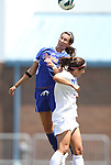 26 August 2012: Florida's Holly King (left) and Duke's Gilda Doria (right). The University of Florida Gators defeated the Duke University Blue Devils 3-2 in overtime at Fetzer Field in Chapel Hill, North Carolina in a 2012 NCAA Division I Women's Soccer game.
