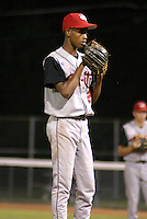 August 22, 2003:  Pitcher Andres Astacio of the Tri-City ValleyCats during a game at Dwyer Stadium in Batavia, New York.  Photo by:  Mike Janes/Four Seam Images
