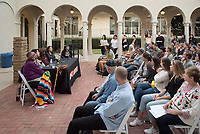 Chicana Photographers LA brings together five Southern California women photographers whose diverse work comments on the female body, family relationships, urban settings and the evolving cultural landscape of Los Angeles. Organized by the Avenue 50 Studio and Oxy Arts at Occidental College, Chicana Photographers LA features the work of (seated at the table, from left) Laura Aguilar, Star Montana, Aydinaneth Ortiz, Christina Fernandez and Sandra de la Loza. The exhibition is curated by Sybil Venegas. Photo from the opening reception at the Weingart Gallery on October 19, 2017.<br /> (Photo by Marc Campos, Occidental College Photographer)