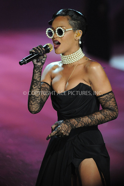 WWW.ACEPIXS.COM . . . . . .November 7, 2012...New York City...Rihanna performs on the runway during the 2012 Victoria's Secret Fashion Show at the Lexington Avenue Armory on November 7, 2012 in New York City ....Please byline: KRISTIN CALLAHAN - ACEPIXS.COM.. . . . . . ..Ace Pictures, Inc: ..tel: (212) 243 8787 or (646) 769 0430..e-mail: info@acepixs.com..web: http://www.acepixs.com .