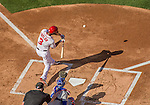 6 April 2015: Washington Nationals outfielder Michael Taylor singles to lead off the bottom of the first inning in the Home Opening Game against the New York Mets at Nationals Park in Washington, DC. The Mets rallied to defeat the Nationals 3-1 in their first meeting of the 2015 MLB season. Mandatory Credit: Ed Wolfstein Photo *** RAW (NEF) Image File Available ***
