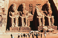 Egypt:  The Rock Temple (Great Temple of Ramses II)  in Abu Simbel.   ( Photo 1992.)