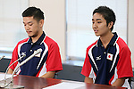 (L to R) Shinnosuke Tsukue, Taiki Kaido, SEPTEMBER 9, 2013 - Squash : Japanese Squash team attend press conference about squash not being selected from the Olympic summer Games in 2020 <br />  at Kishi Gymnasium, Tokyo, Japan. (Photo by Yusuke Nakanishi/AFLO SPORT)