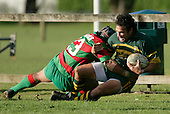 G. Leger is taken to ground by S. Kata. Counties Manukau Premier Club Rugby, Pukekohe v Waiuku  played at the Colin Lawrie field, on the 3rd of 2006.Pukekohe won 36 - 14