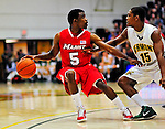 12 December 2010: Marist College Red Foxes' guard R.J. Hall, a Junior from East Orange, NJ, in action against the University of Vermont Catamounts at Patrick Gymnasium in Burlington, Vermont. The Catamounts (7-2) defeated the Red Foxes 75-67 notching their 7th win of the season, and their best start since the '63-'64 season. Mandatory Credit: Ed Wolfstein Photo