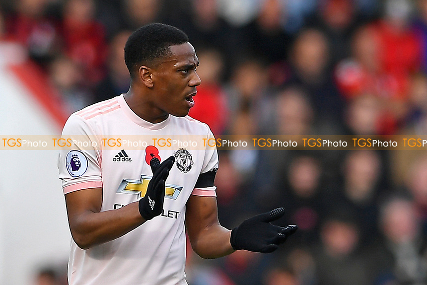 Anthony Martial of Manchester United urges his team mates on after scoring to make the score 1-1 during AFC Bournemouth vs Manchester United, Premier League Football at the Vitality Stadium on 3rd November 2018