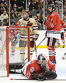 Steven Whitney (BC - 21), Chris Rawlings (Northeastern - 37), Anthony Bitetto (Northeastern - 7) - The Boston College Eagles defeated the Northeastern University Huskies 7-1 in the opening round of the 2012 Beanpot on Monday, February 6, 2012, at TD Garden in Boston, Massachusetts.