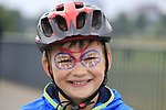 Young fan at the start of Stage 2 of the 104th edition of the Tour de France 2017, running 203.5km from Dusseldorf, Germany to Liege, Belgium. 2nd July 2017.<br /> Picture: Eoin Clarke | Cyclefile<br /> <br /> <br /> All photos usage must carry mandatory copyright credit (&copy; Cyclefile | Eoin Clarke)