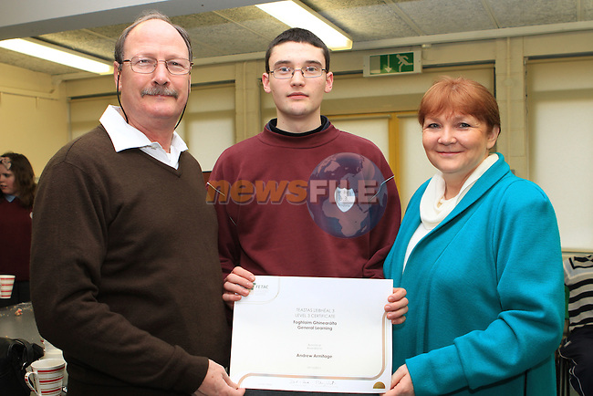 Andrew, Michael and Fiona  Armitage at the presentation of the FETAC Awards in St.Itas School....(Photo credit should read Jenny Matthews www.newsfile.ie)....