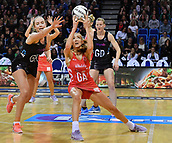 7th September 2017, Te Rauparaha Arena, Wellington, New Zealand; Taini Jamison Netball Trophy; New Zealand versus England;  Englands Helen Housby takes a pass with Silver Ferns Kelly Jury pressuring