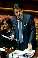 Giuseppe Conte during his speech<br /> Rome December 12th 2019. Speech of the Italian Premier about MES, European Stability Mechanism.<br /> Foto Samantha Zucchi Insidefoto