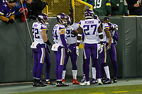 Minnesota Vikings players huddle prior to a National Football League game against the Green Bay Packers on December 23rd, 2017 at Lambeau Field in Green Bay, Wisconsin. Minnesota defeated Green Bay 16-0. (Brad Krause/Krause Sports Photography)