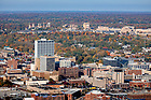 October 31, 2018; Downtown South Bend, Indiana with campus to the north (Photo by Matt Cashore)