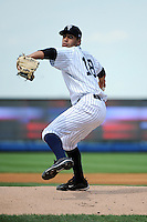 Staten Island Yankees pitcher Gabriel Encinas (18) during game against the Hudson Valley Renegades at Richmond County Bank Ballpark at St.George on June 24, 2012 in Staten Island, NY.  Staten Island defeated Hudson Valley 9-1.  Tomasso DeRosa/Four Seam Images
